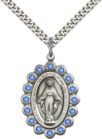 "Sapphire Border Miraculous Medal 1-1/8"" Sterling Silver, Your Choice of Chain, # 65105"