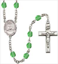 6mm Fire Polished Silver Plate St. Jose Luis Sanchez del Rio Rosary, Peridot, # 66106