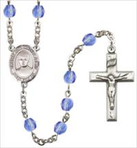 6mm Fire Polished Silver Plate St. Jose Luis Sanchez del Rio Rosary, Sapphire, # 66107