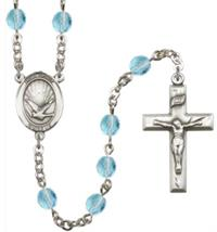 6mm Fire Polished Silver Plate Holy Spirit Rosary, Aqua, # 66130