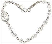 "4mm Fire Polished Rosary Bracelet, 6.25"", Guardian Angel Charm, Crystal, # 66189"