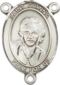 "St. Gianna Beretta Molla Rosary Center, Sterling Silver, 3/4"", # 66342"