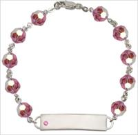 100% Sterling 8mm Birthstone Rosary Bracelet w/ ID Tag, Rose, # 66556