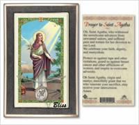 St. Agatha Medal with Prayer Card, Gift Boxed, Sterling Silver, # 67229