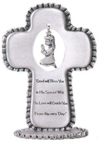 "3.5"" Fine Pewter Standing Cross, Praying Girl Charm w/ Prayer, # 6723"
