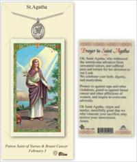 St. Agatha Pewter Medal with Laminated Prayer Card, # 67369