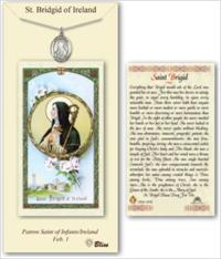 St. Brigid of Ireland Pewter Medal with Laminated Prayer Card, # 67374