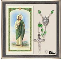 6mm Peridot Silver Plate St. Jude Rosary with Prayer Card, # 67503
