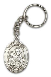 "Keychain, St. Joseph & Child, Silver Oxide Finished Pewter, 1-3/8"" Medal, #96650"