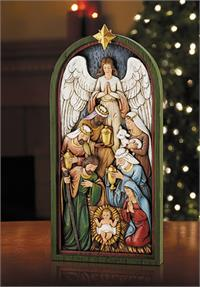"14"" Nativity Plaque in Beautifully Hand Painted Resin, # 67915"