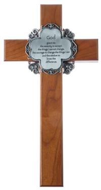 "10"" Cherry Cross with Pewter Serenity Prayer, # 68005"