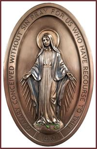 "8"" Miraculous Medal Plaque, Bronzed Veronese Resin, # 7723"