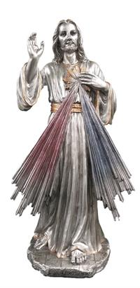 "Divine Mercy Pewter Finish Resin Statue 12"", 8278"