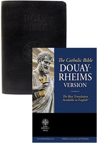 Douay Rheims Bible, Standard Print Size, Black Leather, # 91040