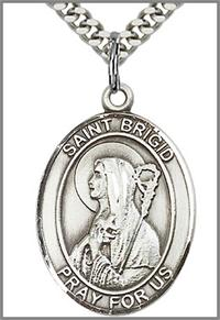 "St. Brigid of Ireland Medal, Sterling Silver, 1""x3/4"", your choice of chain, # 92418"