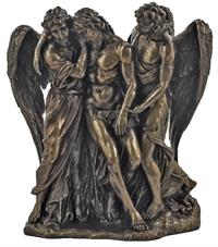 "10"" Christ Supported by Angels Statue, Cold Cast Bronze Resin, # 93570"