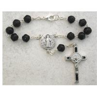 Auto Rosary, Silver Oxide Crucifix and Center, St. Benedict, # 94879