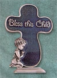 "4"" Pewter ""Bless this Child"" Boy Cross, Translucent Blue Epoxy, # 96081"