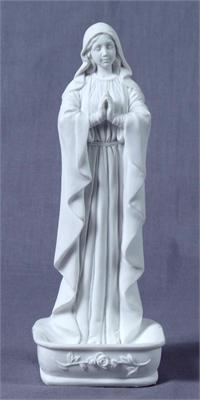 "Praying Virgin Rosary Holder / Font, White Resin, 6.25"", 97196"