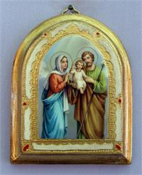 "Arched Florentine plaque, 3-1/2"" x 4 1/2"", high gloss, Holy Family, Made in Italy., 97353"