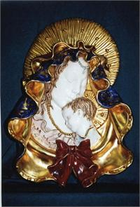 "Madonna and Child wall plaque in hand- painted and hand-crafted ceramic, 17"" tall. Made in Italy., 97397"