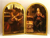 "Annunciation by da Vinci Florentine Diptych, 21"" x 15"". Made in Italy., 97616"