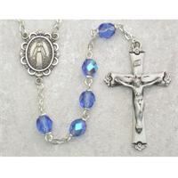 6mm AB Zircon Birthstone Rosary for December, Sterling Crucifix and Center, # 98086