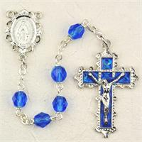 6mm Sapphire Birthstone Rosary for September, Enameled Crucifix and Center, # 98096