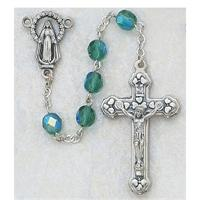 Birthstone Rosary, Silver Oxide Crucifix and Center, May / Emerald, # 98171