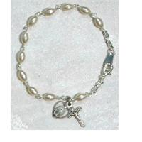 Youth Rosary Bracelet, Oval Glass Pearls, Sterling Silver Medals, # 98284