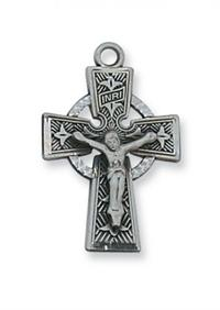 Satin Silver Finished Pewter Pendant, Celtic Crucifix, # 49143
