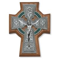 "5.5"" Walnut Stained Celtic Crucifix, Silver tone Corpus, # 99236"