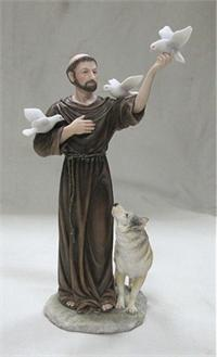 "10-1/2"" Hand Painted Resin St. Francis w/ Animals, # 99387"