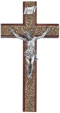 "8"" Walnut Crucifix, Pewter Figure on Gold Lacquerd Pewter Inlay, # 99685"