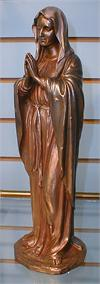 Adoring Virgin Bronzed Resin Statue 12