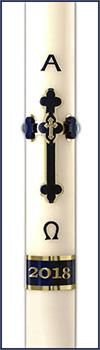 Adoration Blue Paschal Candle Special #3, 1-15/16