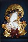 Madonna and Child wall plaque in hand- painted and hand-crafted ceramic, 17