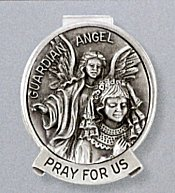 Visor Clip, Girl with Guardian Angel Pewter, # 27749