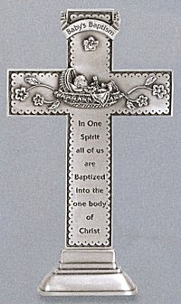 "Baby Pewter Standing Cross 6""., # 27667"