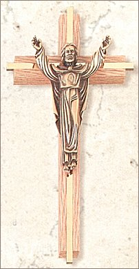 "8"" Oak, Gold Inlay and Bronze Risen Christ Cross, # 27923"