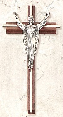 "10"" Inlay Risen Christ Cross - Walnut, Nickel and Silver, # 27933"