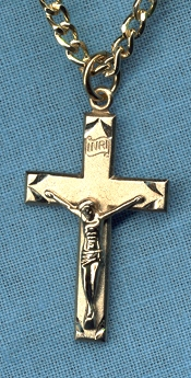Highlighted Crucifix 1 1/8 In. Gold on Sterling Tutone, # 11286