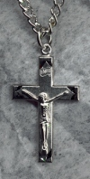 Highlighted Crucifix 1 1/8 In. Sterling, # 11297