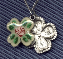 "Enameled 4-Way Medal in Sterling - 7/8"", # 14715"