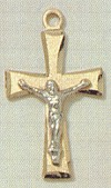 Frosted 2-Tone Crucifix 3/4 In. Gold & Sterling, # 1493