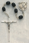 6x8mm Black Wood Rosary, Sterling Silver Crucifix & Center, # 15318
