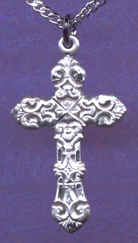 "1"" Cross in Sterling Silver, Your Choice of Chain , # 18213"