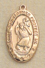 Small Oval St. Christopher Medal Gold on Sterling, # 19767