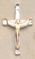 Two-Tone Risen Christ Necklace Sterling & Gold, # 19869