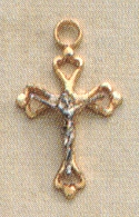 Small 2-Tone Filigree Crucifix  Sterling & Gold, # 19907